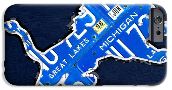 Lion Art iPhone Cases - Detroit Lions Football Team Retro Logo License Plate Art iPhone Case by Design Turnpike