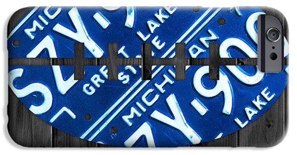 Lions Mixed Media iPhone Cases - Detroit Lions Football Vintage License Plate Art iPhone Case by Design Turnpike