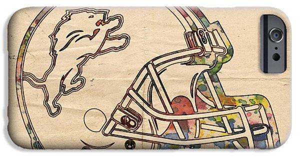 Football iPhone Cases - Detroit Lions Helmet Vintage iPhone Case by Florian Rodarte
