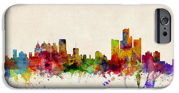 Watercolor iPhone Cases - Detroit Michigan Skyline iPhone Case by Michael Tompsett