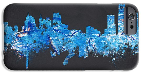 Painted Mixed Media iPhone Cases - Detroit Michigan USA iPhone Case by Aged Pixel