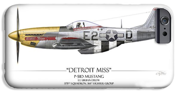 P-51 iPhone Cases - Detroit Miss P-51D Mustang - White Background iPhone Case by Craig Tinder