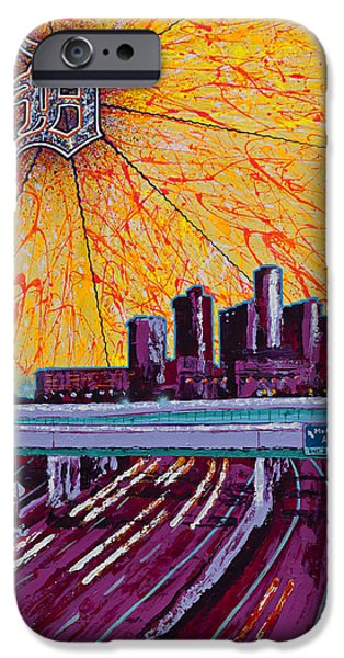 City Scape Drawings iPhone Cases - Detroit My City iPhone Case by Lance Graves
