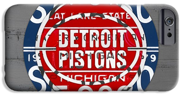 Basketball Team iPhone Cases - Detroit Pistons Basketball Team Retro Logo Vintage Recycled Michigan License Plate Art iPhone Case by Design Turnpike