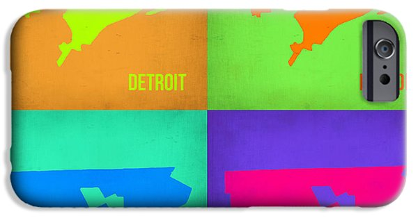 Detroit Digital iPhone Cases - Detroit Pop Art Map 1 iPhone Case by Naxart Studio
