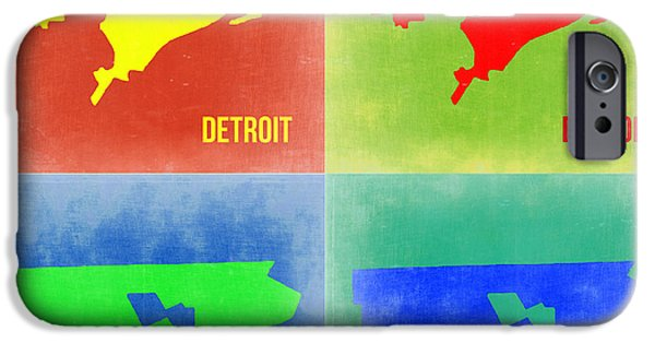 Detroit Digital iPhone Cases - Detroit Pop Art Map 2 iPhone Case by Naxart Studio