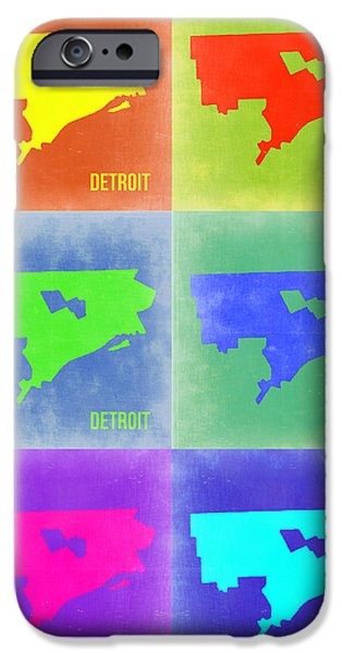 Street Mixed Media iPhone Cases - Detroit Pop Art Map 3 iPhone Case by Naxart Studio