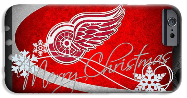 Red Wings iPhone Cases - Detroit Red Wings Christmas iPhone Case by Joe Hamilton