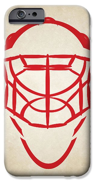 Red Wings iPhone Cases - Detroit Red Wings Goalie Mask iPhone Case by Joe Hamilton