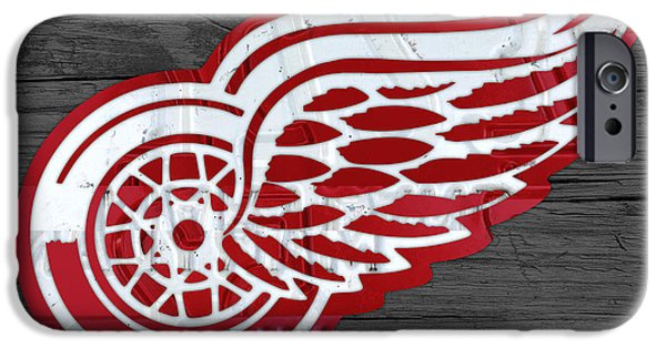 Red Wings iPhone Cases - Detroit Red Wings Recycled Vintage Michigan License Plate Fan Art on Distressed Wood iPhone Case by Design Turnpike