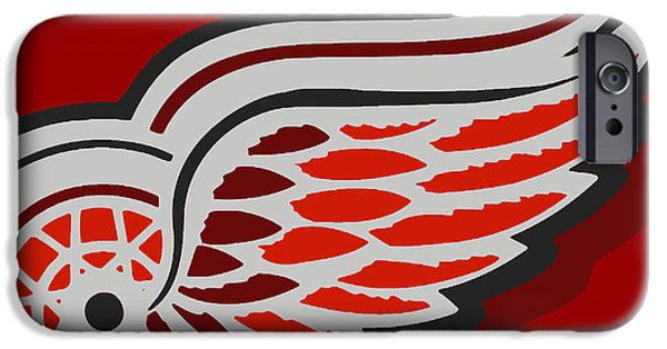 Hockey Paintings iPhone Cases - Detroit Red Wings iPhone Case by Tony Rubino