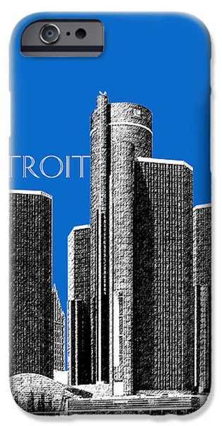 Detroit Digital iPhone Cases - Detroit Skyline 1 - Blue iPhone Case by DB Artist