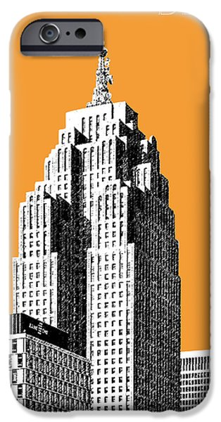 Detroit Digital iPhone Cases - Detroit Skyline 2 - Orange iPhone Case by DB Artist