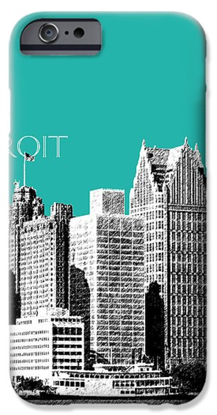 Pen And Ink Digital Art iPhone Cases - Detroit Skyline 3 - Teal iPhone Case by DB Artist
