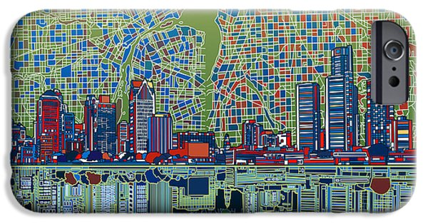 Mosaic iPhone Cases - Detroit Skyline Abstract 3 iPhone Case by MB Art factory