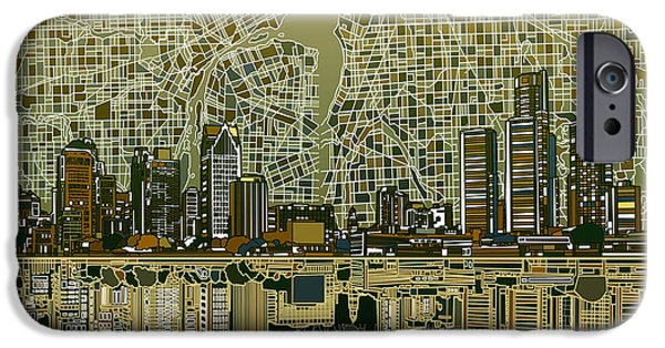 United States iPhone Cases - Detroit Skyline Abstract 4 iPhone Case by MB Art factory