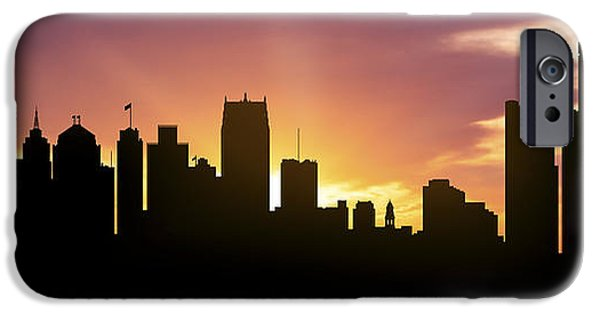 Detroit Digital iPhone Cases - Detroit Skyline Panorama Sunset iPhone Case by Aged Pixel