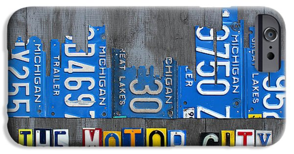 Board Mixed Media iPhone Cases - Detroit The Motor City Skyline License Plate Art on Gray Wood Boards  iPhone Case by Design Turnpike