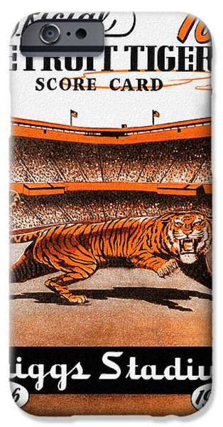 Baseball Stadiums Paintings iPhone Cases - Detroit Tigers 1946 Scorecard iPhone Case by Big 88 Artworks