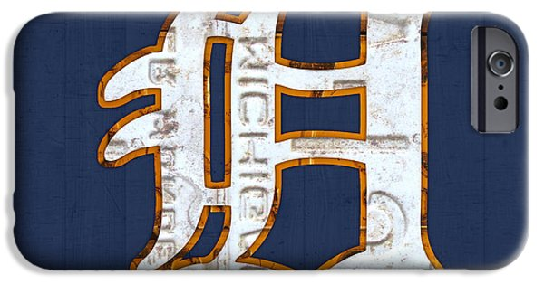 Cars iPhone Cases - Detroit Tigers Baseball Old English D Logo License Plate Art iPhone Case by Design Turnpike