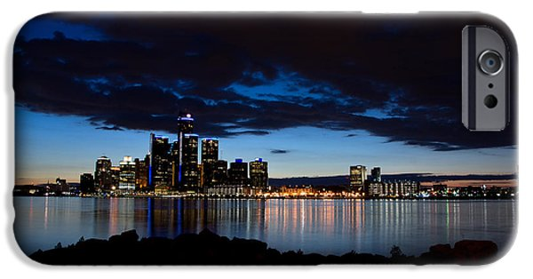 Centre iPhone Cases - Detroit Twilight iPhone Case by Cale Best