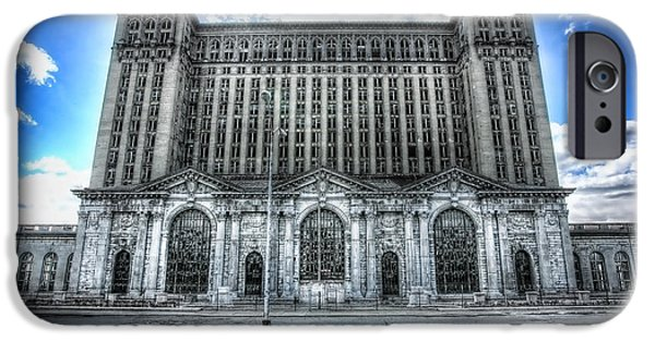 Old Man Digital iPhone Cases - Detroits Abandoned Michigan Central Train Station Depot iPhone Case by Gordon Dean II