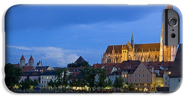 Bayern iPhone Cases - Deutschland, Regensburg, Stadtansicht iPhone Case by Tips Images