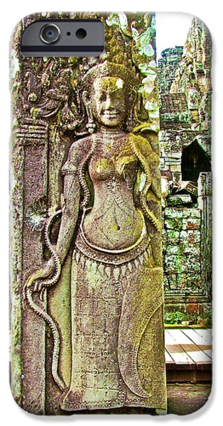 Hindu Goddess iPhone Cases - Devata or Hindu Goddess in the Bayon of Angkor Wat Archeological Park near Siem Reap-Cambodia  iPhone Case by Ruth Hager