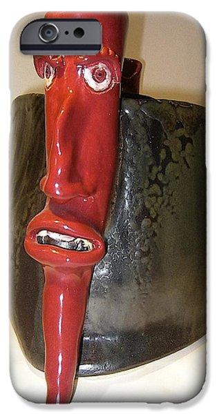 Object Ceramics iPhone Cases - Devil Pepper iPhone Case by Mario Perron