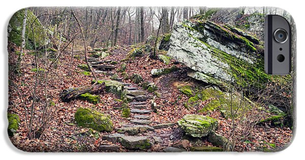 Devils Den iPhone Cases - Devils Den Stone Stairs in Autumn iPhone Case by Tanya Harrison