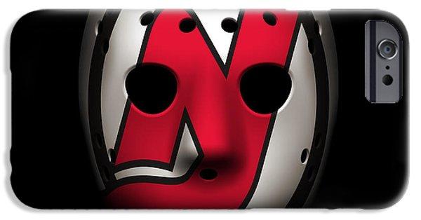 Devil iPhone Cases - Devils Goalie Mask iPhone Case by Joe Hamilton