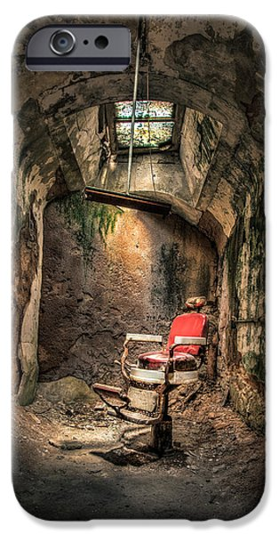 Barbier iPhone Cases - Devils Haircut - Barbers Chair in Cell Block 10 iPhone Case by Gary Heller