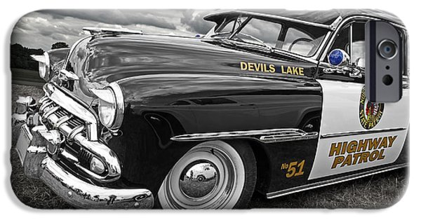 Police Cruiser iPhone Cases - Devils Lake Highway Patrol - 51 Chevy iPhone Case by Gill Billington