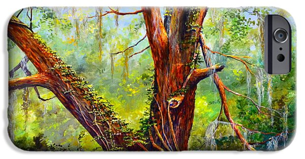 Nature Center Paintings iPhone Cases - Devine Oak iPhone Case by AnnaJo Vahle