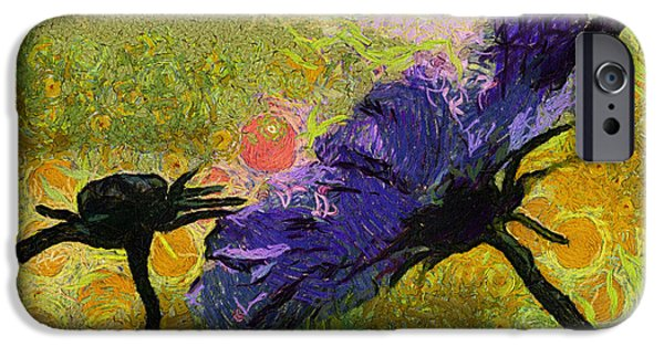 Asymmetrical iPhone Cases - Dew Drop On Purple Flower 04 iPhone Case by Thomas Woolworth