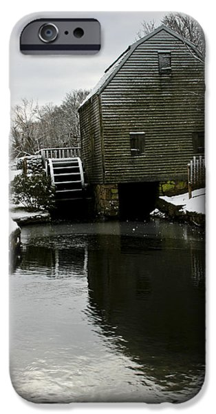 Grist Mill iPhone Cases - Dexter Grist Mill in Winter iPhone Case by Dennis Coates