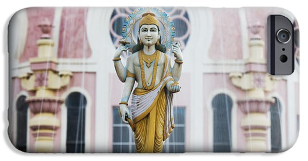 Deity iPhone Cases - Dhanvantari Fountain Statue Puttaparthi India iPhone Case by Tim Gainey