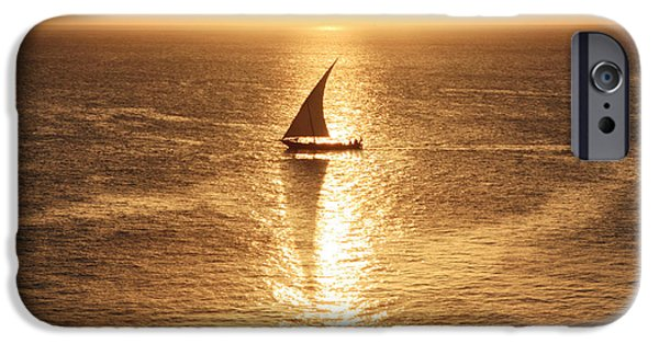Boat iPhone Cases - African Dhow At Sunset iPhone Case by Aidan Moran