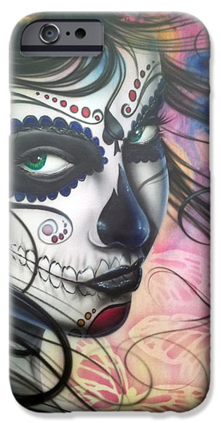Flowing iPhone Cases - Dia De Los Muertos Chica iPhone Case by Mike Royal