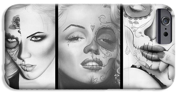 Hand Paint Brushed iPhone Cases - Dia De Los Muertos iPhone Case by Christian Chapman Art