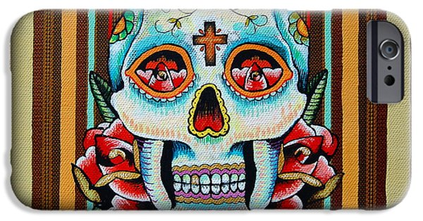 Tattoo Flash iPhone Cases - Dia de los Muertos Skull iPhone Case by Britt Kuechenmeister