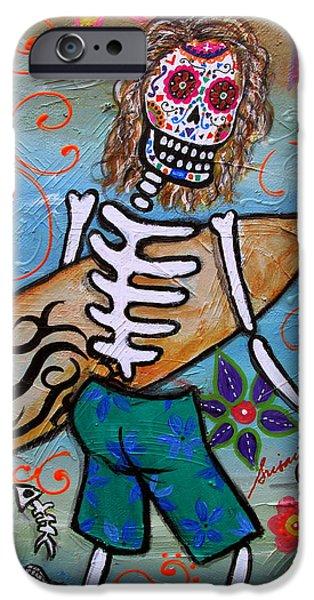 Malibu Paintings iPhone Cases - Dia De Los Muertos Surfer iPhone Case by Pristine Cartera Turkus