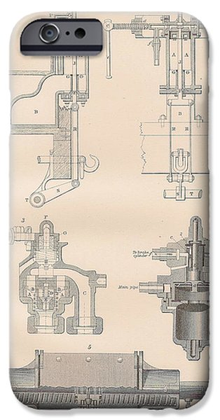 Mechanism Drawings iPhone Cases - Diagram of a Brake iPhone Case by Anon