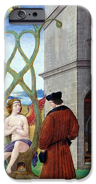 Allegory iPhone Cases - Dialogue Between The Alchemist And Nature, 1516 Vellum iPhone Case by Jean Perreal