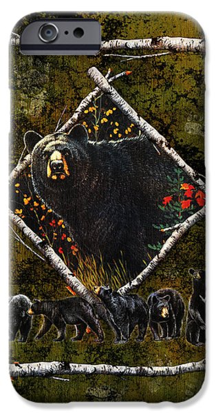 Black Bear iPhone Cases - Diamond Bear iPhone Case by JQ Licensing