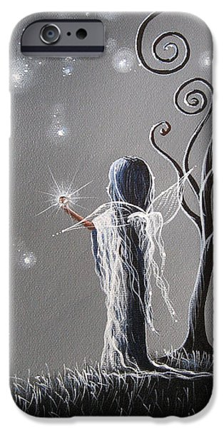 Night Angel Paintings iPhone Cases - Diamond Fairy by Shawna Erback iPhone Case by Shawna Erback