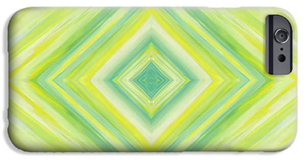 Stripes iPhone Cases - Diamond in Green and Yellow iPhone Case by Barbara St Jean