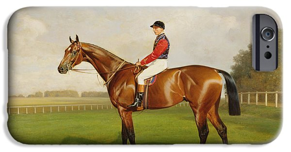 Sports Paintings iPhone Cases - Diamond Jubilee Winner of the 1900 Derby iPhone Case by Emil Adam