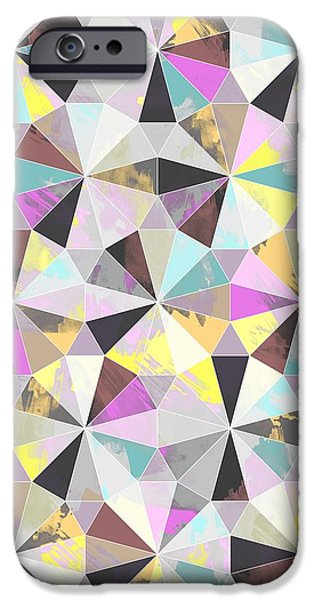 Patterns Paintings iPhone Cases - Diamond iPhone Case by Laurence Lavallee