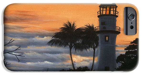 Lighthouse Pastels iPhone Cases - Diamond Head Lighthouse at Sunset iPhone Case by Kathryn Foster